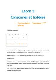 Doc - Lecon 5 Consonnes et hobbies chinois