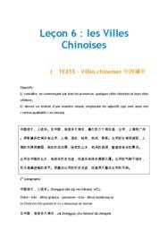 Doc - Lecon 6 Les villes chinoises