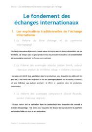 Doc - Le fondement des échanges internationaux économie BTS1 - BURGLE