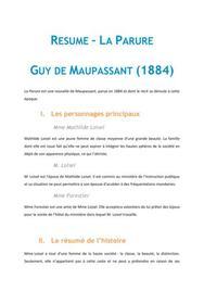 Résumé La Parure, Guy de Maupassant - FRANCAIS