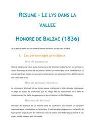 Le lys dans la vallée, Balzac - Fiche de lecture Français