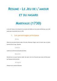 Le jeu de l'amour et du hasard, Marivaux - Fiche de lecture Français