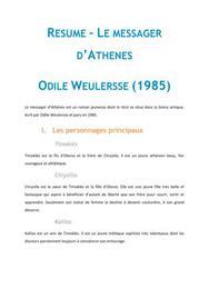 Le messager d'Athènes, Weulersse - Fiche de lecture Français