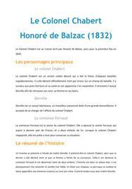 Le colonel Chabert, Balzac - Fiche de lecture Français