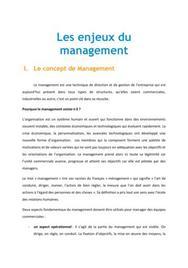 Les enjeux du management - BTS MUC