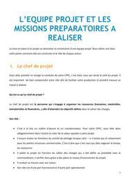 L'équipe projet et les missions préparatoires à réaliser - BTS NRC