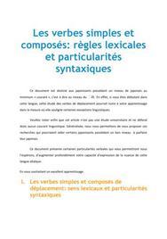 Les verbes simples et composés : règles lexicales et particularités syntaxiques - Japonais
