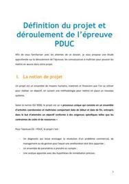 Définition du projet et déroulement de l'épreuve PDUC
