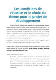 Les conditions de réussite et le choix du thème pour le projet de développement PDUC - Management BTS MUC