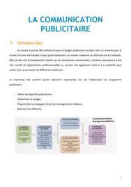 La communication publicitaire - Marketing BTS NRC