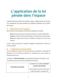 L'application de la loi pénale dans l'espace - Droit L1