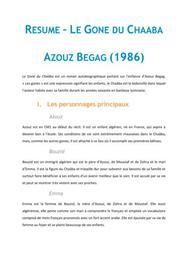 Le Gone du Chaâba, Azouz Begag - Fiche de lecture