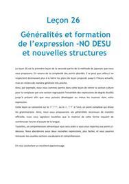 Généralités et formation de l'expression -NO DESU et nouvelles structures - Japonais