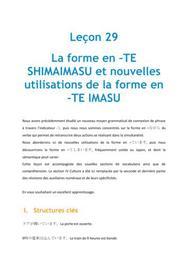 La forme en -TE SHIMAIMASU et nouvelles utilisations de la forme -TE IMASU - Leçon 29 Japonais
