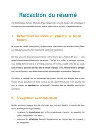 Rédaction du résumé - Méthodo Concours Paramédical
