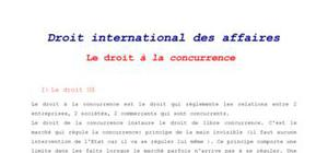 Droit international des affaires : Droit à la concurrence