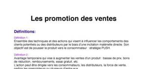 Les promotion des ventes
