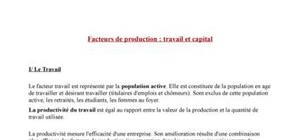 Facteurs de production : Travail et Capital