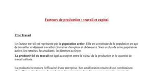 La production : Travail et Capital