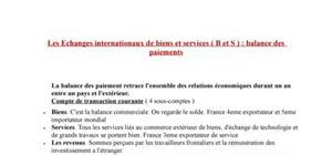 Echanges internationaux : balance des paiements