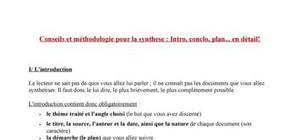 La synthèse : Conseils. Introduction, plan, conclusion