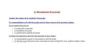 Déroulement d'un projet : Les phases