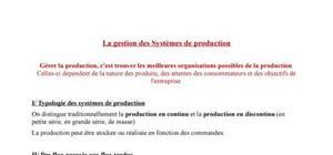 La gestion des Systèmes de production