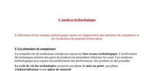 L'analyse technologique