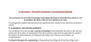 L'entreprise : Structure productive et groupement humain