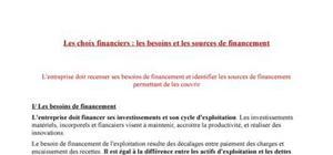 Les choix financiers : besoins et sources de financement