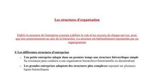 Les structures d'organisation