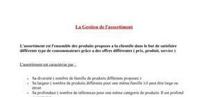 La Gestion de l'assortiment
