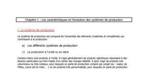 Les caractéristiques et l'évolution des systèmes de production