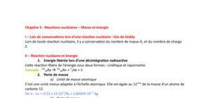 Réactions nucléaires - masse et énergie