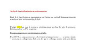 Classification des actes de commerce