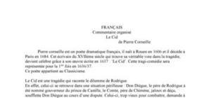 Commentaire organisé sur Le Cid de Corneille