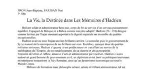La Vie, La Destinée dans Les Mémoires d'Hadrien de Marguerite Yourcenar