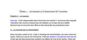La monnaie et le financement dans l'économie