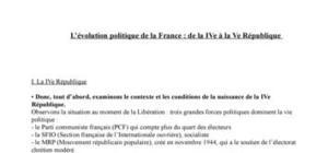 L'évolution politique de la France : de la IVe à la Ve République