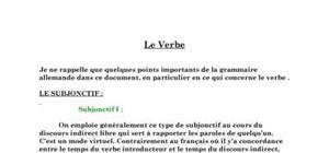 Le verbe en Allemand (subjonctif I et II ...)
