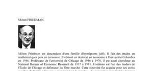 Biographie de l'économiste Milton Friedman