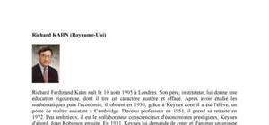 Biographie de l'économiste Richard Kahn