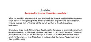 Exposé sur la crise financière en Anglais