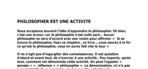 Philosopher est une activité