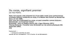 """""""Du corps, signifiant premier"""" par Paul Mathis"""
