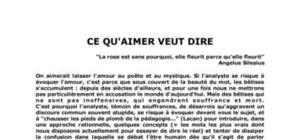 """""""Ce qu'aimer veut dire"""" par le Dr. Michel Pouquet"""