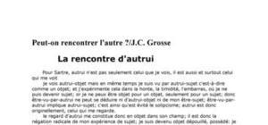 """""""Peut-on rencontrer l'autre? """" par Jean-Claude Grosse"""