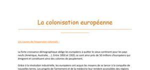 La colonisation européenne