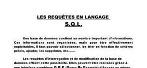 Les requêtes en language SQL