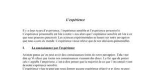 L'expérience